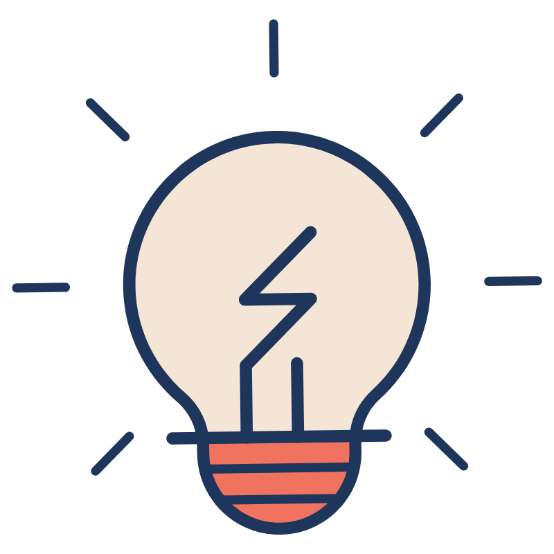 Illustration of peach lightbulb