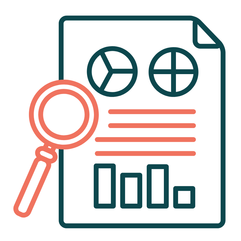 Illustration of magnifying glass and report with graphs