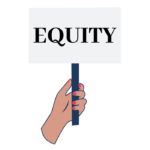 Illustration of a hand with nail polish holding a sign that says equity
